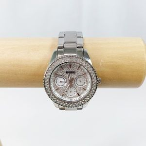 Fossil silver chronograph watch with crystal face